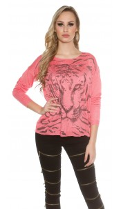 Sexy Koucla pulli with tiger print and rhinestones Coral