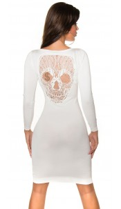 Trendy Koucla knitted-dress with skullhead Cream