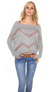 Trendy Koucla pullover with lace and rhinestones Grey