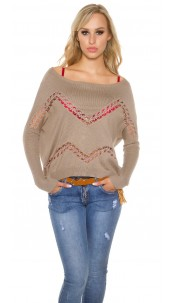 Trendy Koucla pullover with lace and rhinestones Taupe