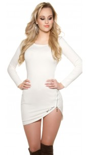 Sexy Koucla fineknit dress with lace and zip Cream