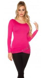 Sexy KouCla sweater asymmet. collar + rhinestones Fuchsia