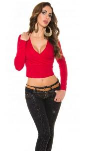 Sexy KouCla V-cut sweater in wrap look Red