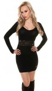 Sexy KouCla knit dress with sexy insight Black