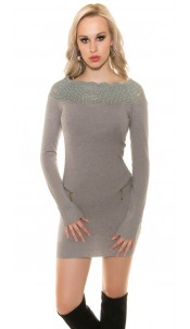 Sexy KouCla knit dress with lace and zip Grey