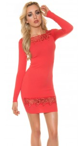Sexy Koucla fine knit dress with lace Coral