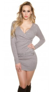 Sexy KouCla fineknit dress with wrap look Grey