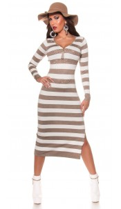 Trendy KouCla knitted dress with zip Taupe
