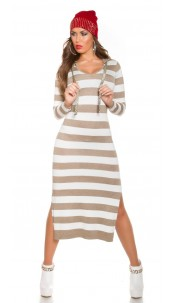 Sexy Koucla fineknitted Maxidress with hood Taupe