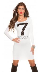 Trendy Koucla fineknitted dress with rhinestones Cream
