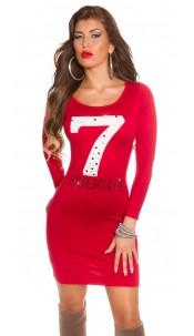 Trendy Koucla fineknitted dress with rhinestones Red