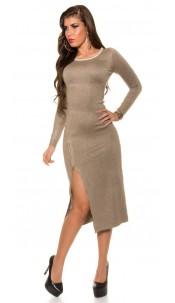 Trendy Koucla fine knit dress with zipper Taupe