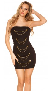 Sexy bandeau-minidress with chains and buttons Black