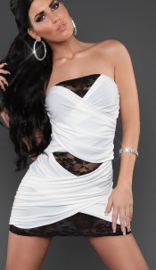 Sexy Bandeau-Partydress in wraplook with lace White