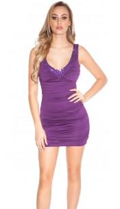 Sexy minidress with V-Neck and stones, backfree Purple