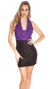 Sexy Minikleid, gathered with cowl neck Purple