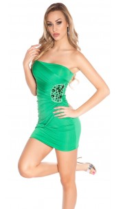 Sexy Bandeau Minidress with stones and embroidery Green
