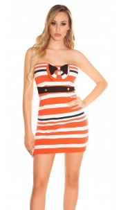 Sexy bandeau minidress with bow and buttons Orange
