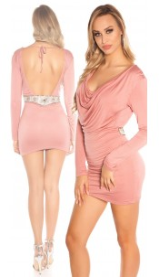 Sexy KouCla minidress, backfree w. rhinestones Antiquepink