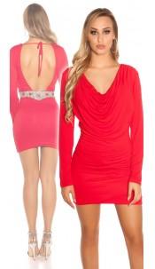 Sexy KouCla minidress, backfree w. rhinestones Red