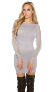 Sexy KouCla Long jumper / mini dress with slits Grey