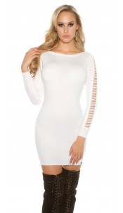 Sexy KouCla Long jumper / mini dress with slits White