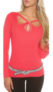 Sexy KouCla ribbed jumper with sexy insight Coral