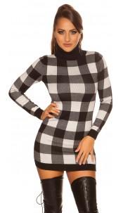 Sexy KouCla checkered Turtleneck Mini Dress Black