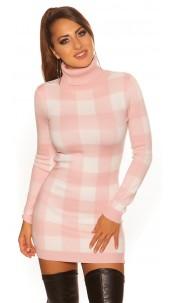 Sexy KouCla checkered Turtleneck Mini Dress Pink