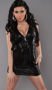 Sexy neck-sequins dress with loop and rhinestones Black