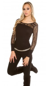Trendy KouCla fine knit jumper with lace Black