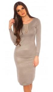 Sexy KouCla knit dress with V-Cut lacing Grey