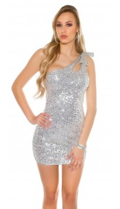 Sexy One-Shoulder Disco Dress with sequins Silver