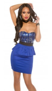 Sexy Bandeau-minidress with sequins and peplum Blue