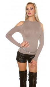 Sexy KouCla cold shoulder jumper + glitter threads Cappuccino