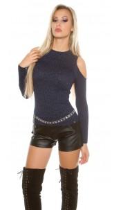 Sexy KouCla cold shoulder jumper + glitter threads Navy