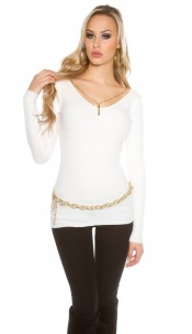 Sweater with chain White