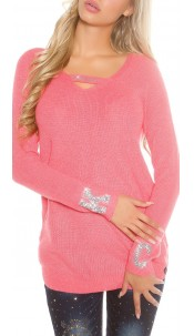 Sexy Koucla knit pullover with rhinestones Coral