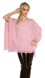 fine knit poncho with rhinestones Antiquepink