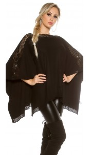 fine knit poncho with rhinestones Black