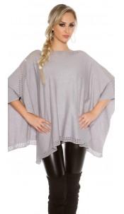 fine knit poncho with rhinestones Grey