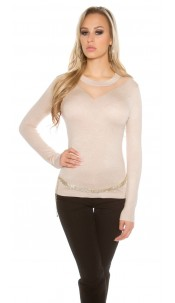 Sexy KouCla sweater with mesh insert Beige