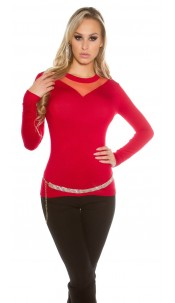 Sexy KouCla sweater with mesh insert Red