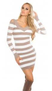 Sexy Koucla ripped minidress striped Cappuccino