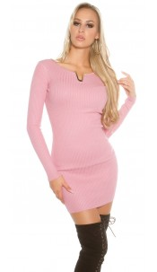 Sexy KouCla ribbed mini dress with deco V-cut Antiquepink