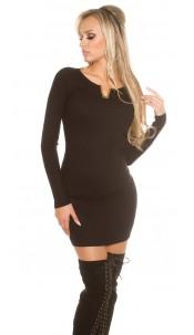 Sexy KouCla ribbed mini dress with deco V-cut Black