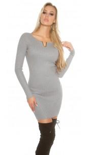 Sexy KouCla ribbed mini dress with deco V-cut Grey
