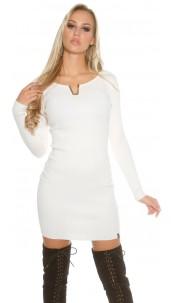 Sexy KouCla ribbed mini dress with deco V-cut White