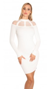 Sexy KouCla Ripp knit dress with mesh White