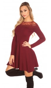 Trendy KouCla knit dress with embroidery & mesh Bordeaux
